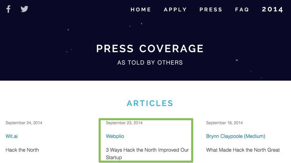 "Update May 2015: We've been featured on Hack the North's Press <a href=""http://hackthenorth.com/press"" target=_blank"">page</a>!"