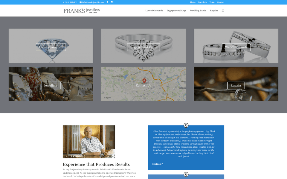 New Frank's Jewellers website.